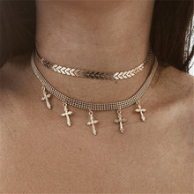 Summer Fashion Bohemian Multi-layer cross Star Necklace Women Style Vintage Layered gift Jewelry