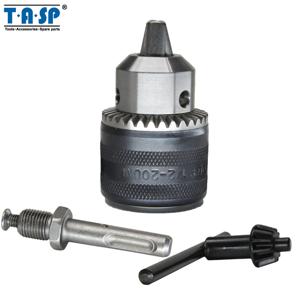 цена на TASP 1.5 ~ 13mm Keyed Drill Chuck 1/2 20UNF with Key and SDS plus Adapter Electric drills and Rotary Hammers Accessories