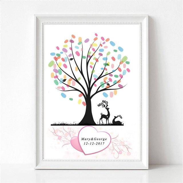 Wasserdicht Leinwand Fingerabdruck Hochzeit Gastebuch Baum