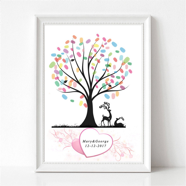 Waterproof Canvas Fingerprint Wedding Guest Book Tree Personalized ...