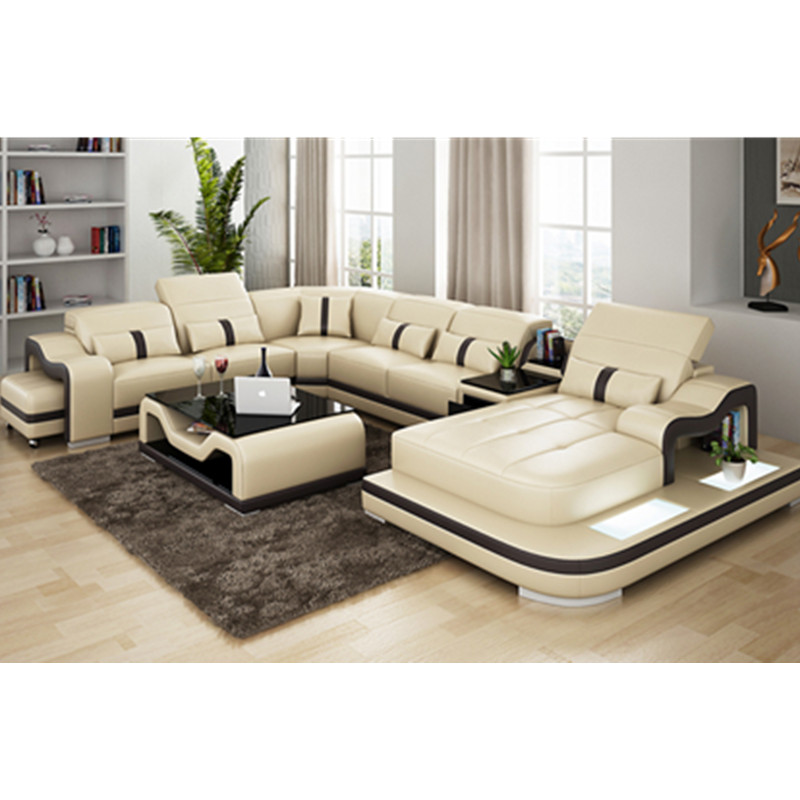 Ital Leather Sofa: Home Furniture Leisure Style Black Leather Living Room