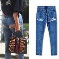 Além de Jeans Tamanho Mulher Longa De Cintura Alta das calças de Brim das Mulheres Buraco nas Nádegas Sensuais calças de Brim Das Mulheres Rua Pressão Calças de Cowboy Calça Jeans feminino