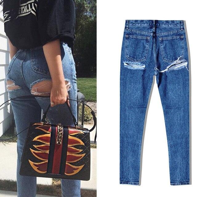 d chir plus taille femme jeans longue taille haute femmes jeans trou dans les fesses sexy. Black Bedroom Furniture Sets. Home Design Ideas