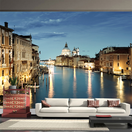 Venice City Night Large Photo Mural Wallpaper 3D Personalized Europe Modern Living Room Bedroom Scenery Wall Paper Home Decor large photo wallpaper bridge over sea blue sky 3d room modern wall paper for walls 3d livingroom mural rolls papel de parede