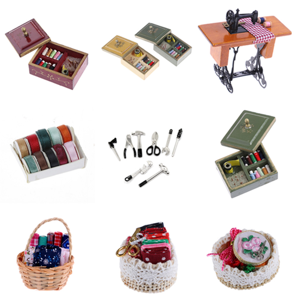 Mini 1:12 Sewing Machine Simulation Home Furniture Toy For Girl Doll House Decoration Dollhouse Miniature Accessories