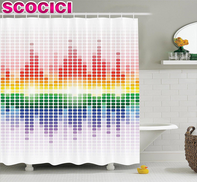 Rainbow bathroom accessories - Music Decor Shower Curtain Set Rainbow Like Digital Equalizer Amplifier Recording Equipment Club Bathroom Accessories