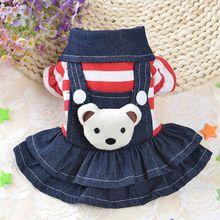 Осеннее белое теплое платье в горошек для щенка, Модная Джинсовая юбка с ремешком, одежда для собак, размеры XS-XL, новинка