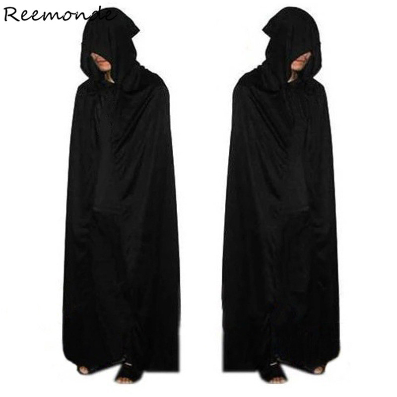 Grim Reaper Halloween Cosplay Costume Black Outfit  Clothing Cloak Cos Full Set