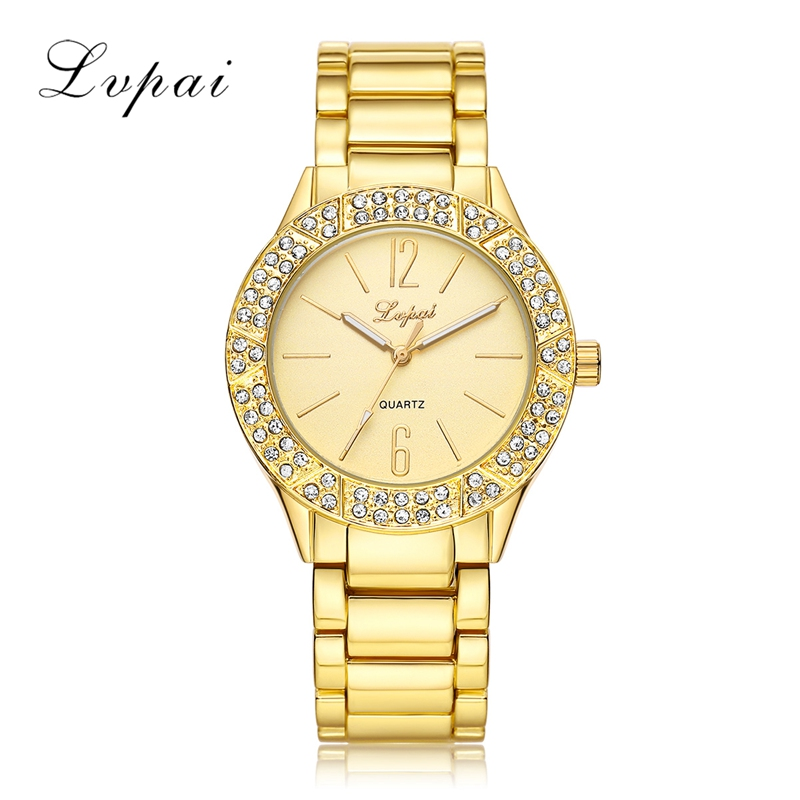 Lvpai Brand Fashion Watch Women Gold Dress Quart-Watch Steel Rhinestone Wristwatch Luxury Women Electronic Female Quartz Watch lvpai fashion brand women watch rhinestone gold full steel quartz wristwatch girl lady women dress gift luxury fashion watches