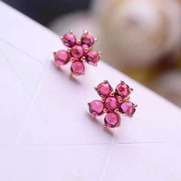 famous brand Red corundum Semi precious stones gold cute natural flowers stud Earrings spike simple party dinner girlfriend gift