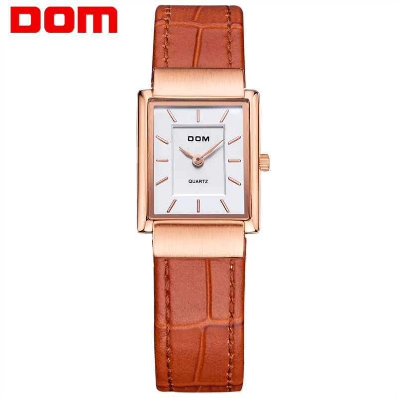 DOM Women's Watches brand luxury waterproof quartz leather gold watch men Square watches reloj clock Wrist Watch for Men G-1089 цена и фото