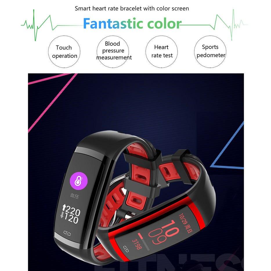 NRF52832 APP Bracelet Blood Press Heart Rate Smart Armband Woman Man Clock with Calories Running Monitor Skype Facebook Watch