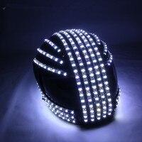 Светодиодный шлем Мода Световой мигающий Marquee Светящийся Шлем водопадом поток светодиодный шлем робота Костюмы Аксессуары