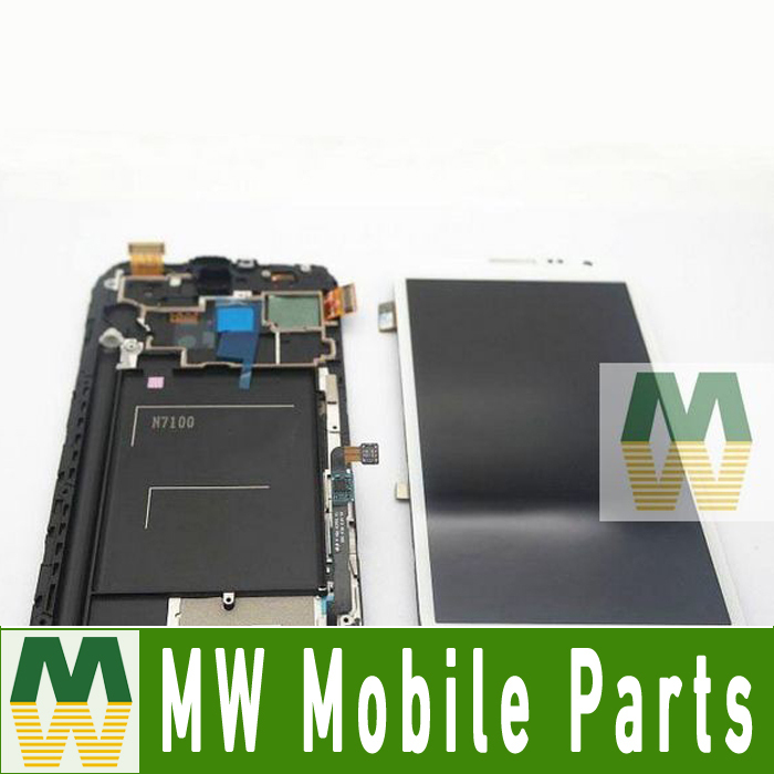 1 PC / Lot For Samsung N7100 Note 2 LCD +Touch Screen +Frame Full Digitier Assembly Grey White Color