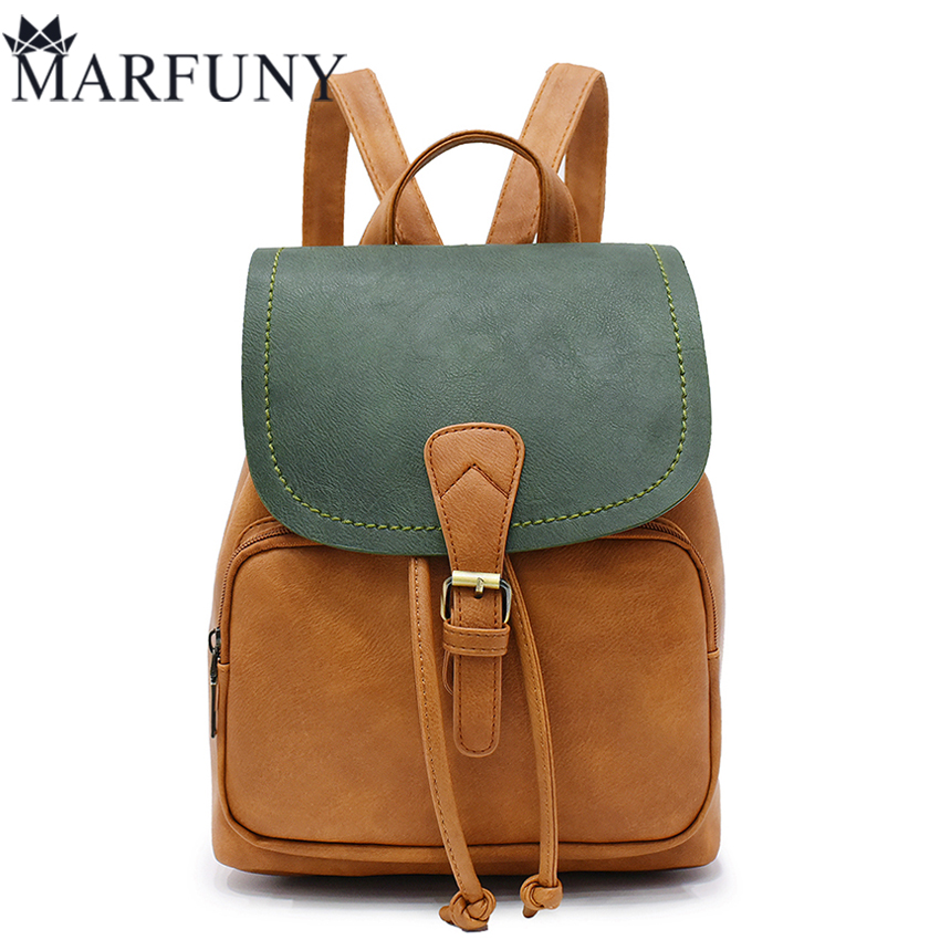 цены  Fashion Panelled Backpack Women Bag Preppy Style School Bags For Teenage Girls Travel Backpacks Hot Sale Pu Leather Backpack Sac