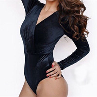 2017 Sexy Monokini Velvet Swimsuit Lady Bodysuit Bathing Suit Monokinis Swimwear Women One Piece Long Sleeve