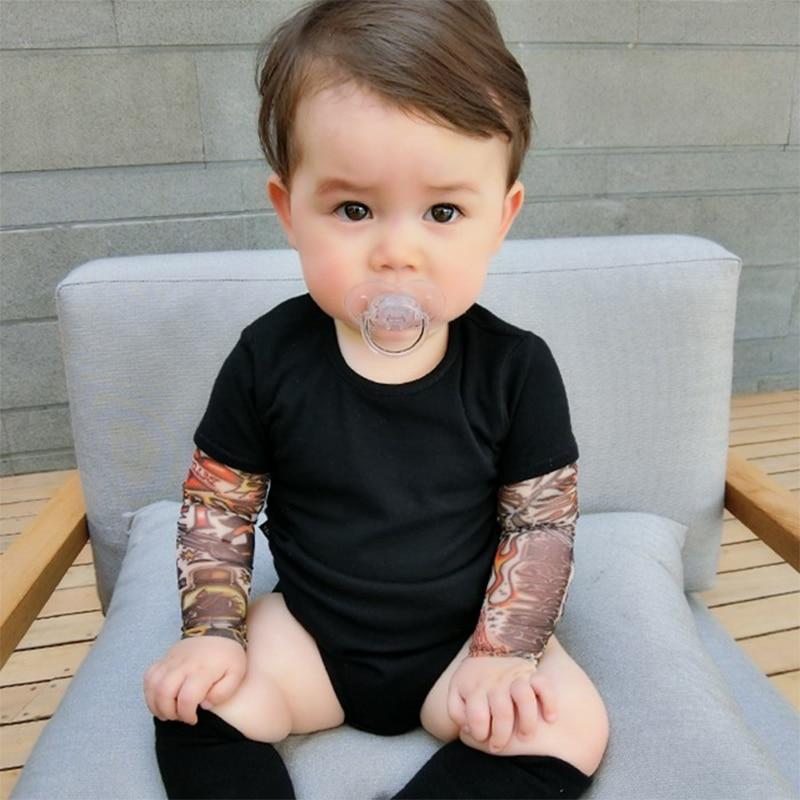 Beb/é reci/én Nacido Tatuaje Impreso Body Manga Larga oto/ño Mono Patchwork Bebes Camisa