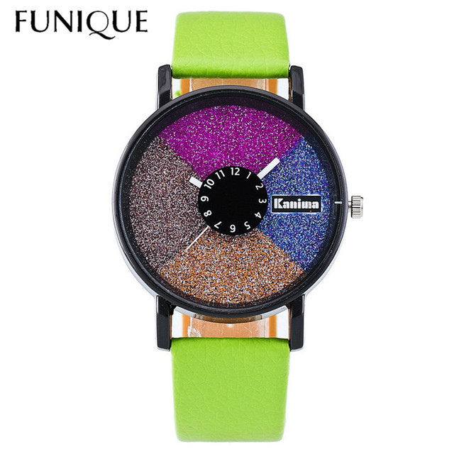 FUNIQUE Color Disc Leather Student Watch PU Leather Ladies Watch Dress Clock Cal
