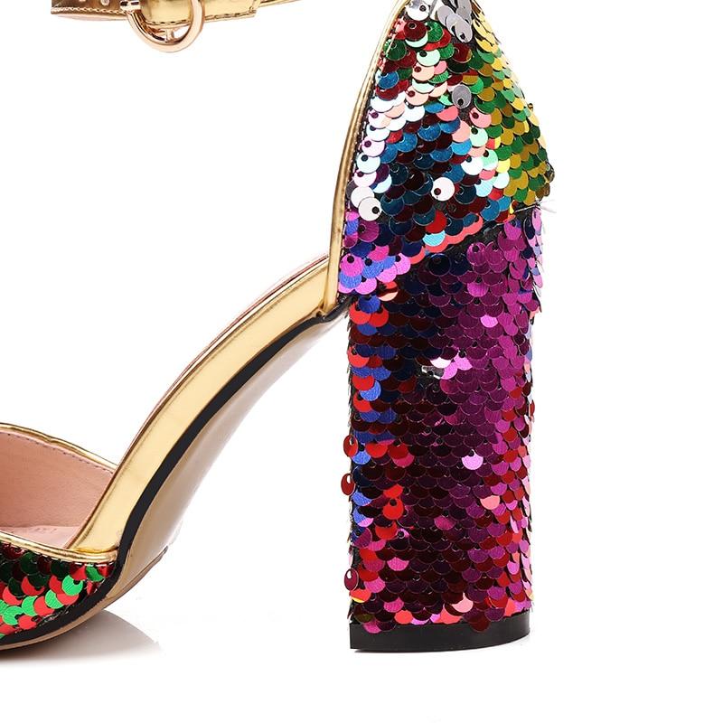 Pour 9 Paillettes Talons Couleur Printemps Colorful Ville Janes Haute Nouveau Femme Tissu Fun Mary Femmes Cm À Mélangée Sandales Chaussures 2018 Parti wHqaZcI7x