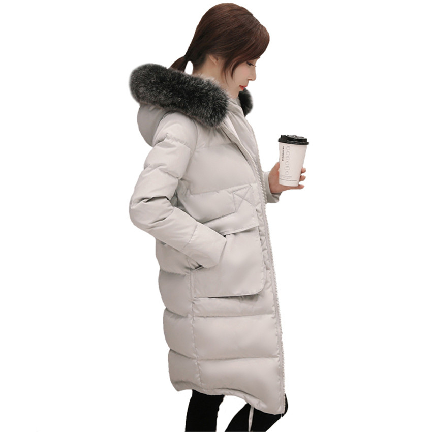 New Winter Women   Down   Jacket Warm Thick Hooded White Duck   Down     Coat   Padded Big Fur Collar Female Long Parka Plus Size 6XL AB675