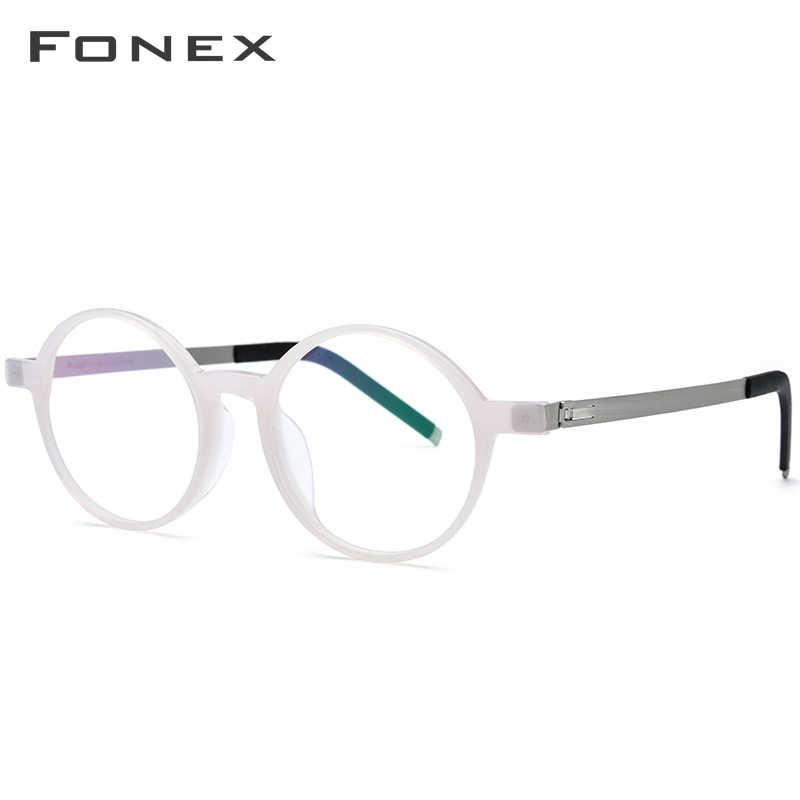 1348f9da1c9f ... FONEX Acetate Glasses Frame Men Women Vintage Round Prescription  Eyeglasses Myopia Optical Frames Spectacles Screwless Eyewear ...