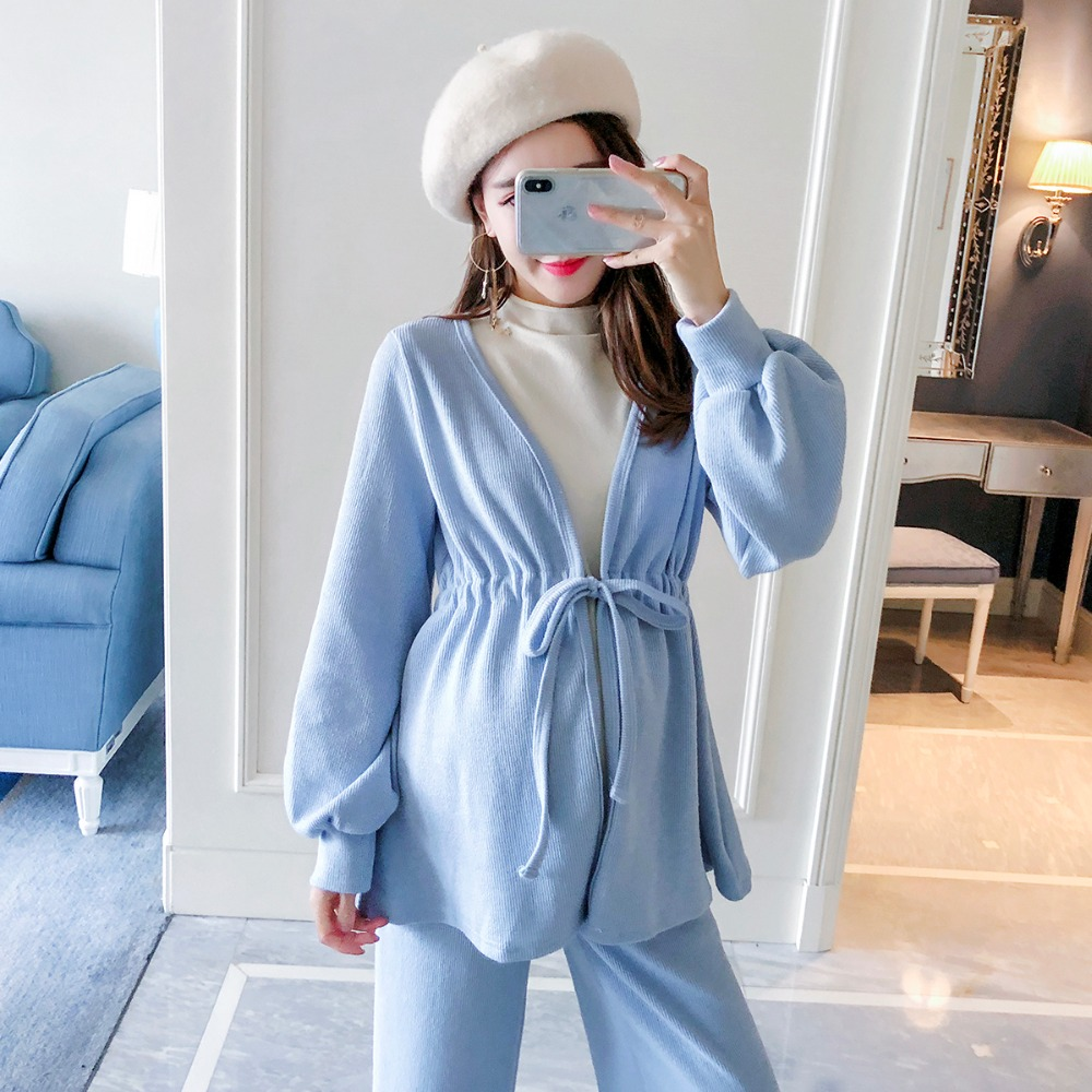 цена на Pregnant women autumn suit female 2018 new fashion loose Korean version of maternity wear casual out pregnancy two-piece