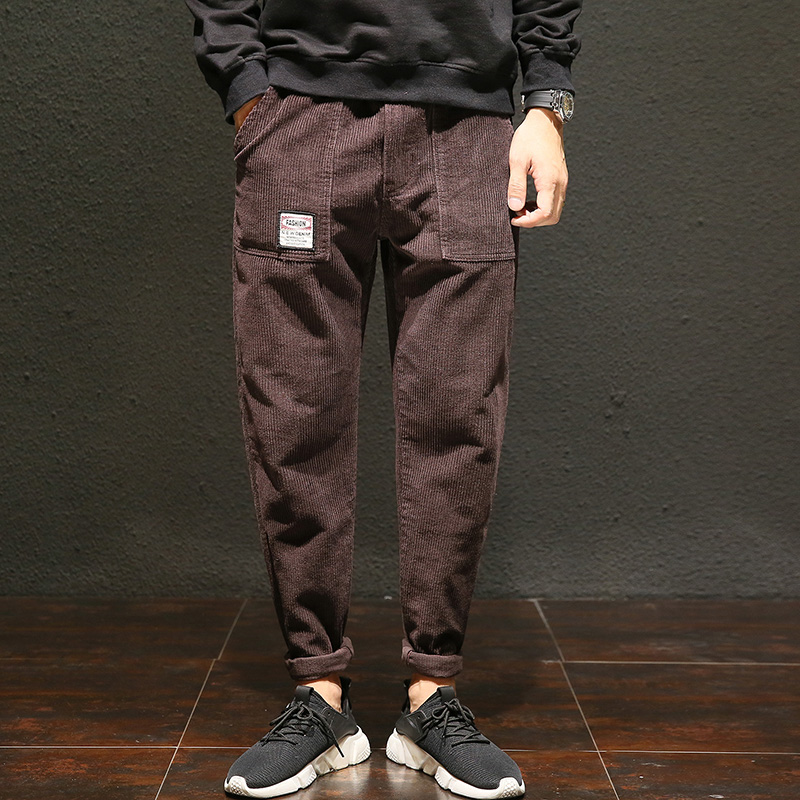 Vomint Casual Pant Splice Street Autumn Men's Corduroy Cotton Fashion Brand-New Youth