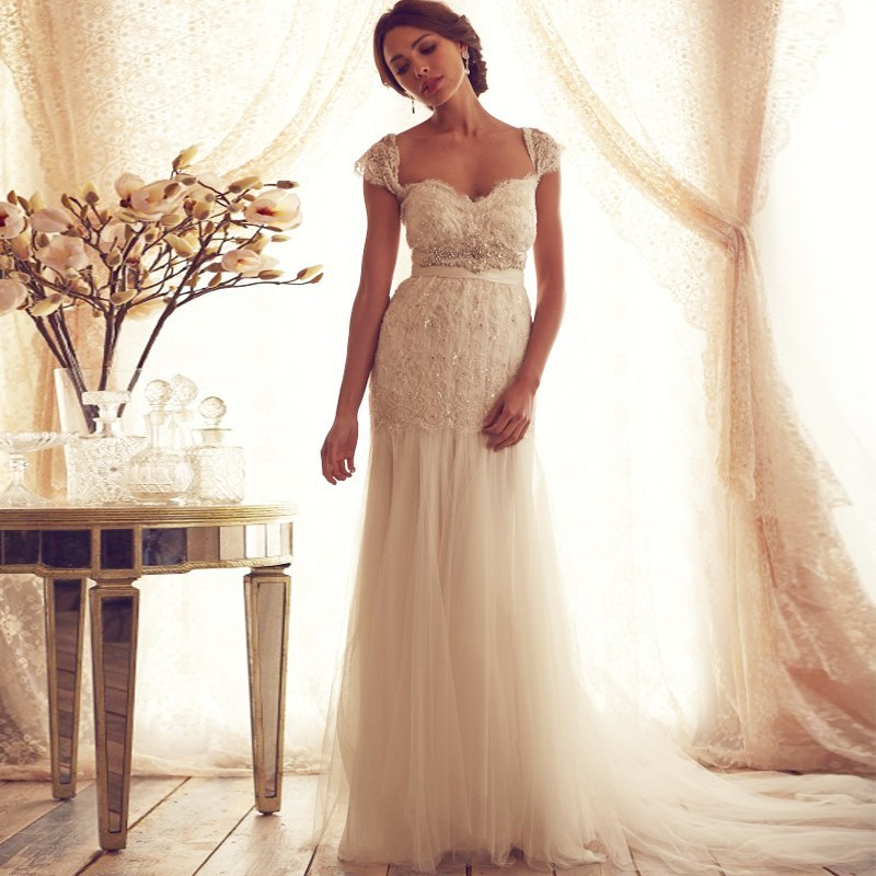 vintage lace boho beach wedding dress 2016 sexy sweetheart cap sleeve backless beading tulle bow bridal