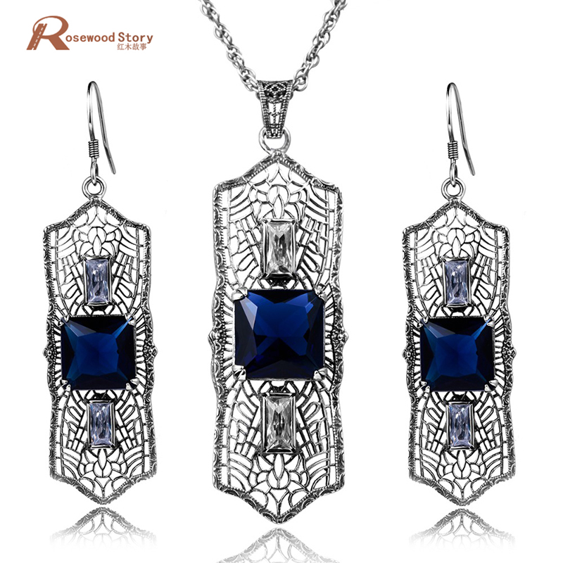 New Jewelry Sets 925 Sterling Silver Jewelry Victorian Vintage Jewelry Set Blue Stone Crystal Earrings Pendants