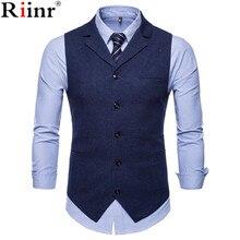 Riinr, новинка, мужские деловые повседневные тонкие жилеты плотной посадки, высокое качество, весна-осень, модные однотонные мужские жилеты на одной пуговице, мужской костюм