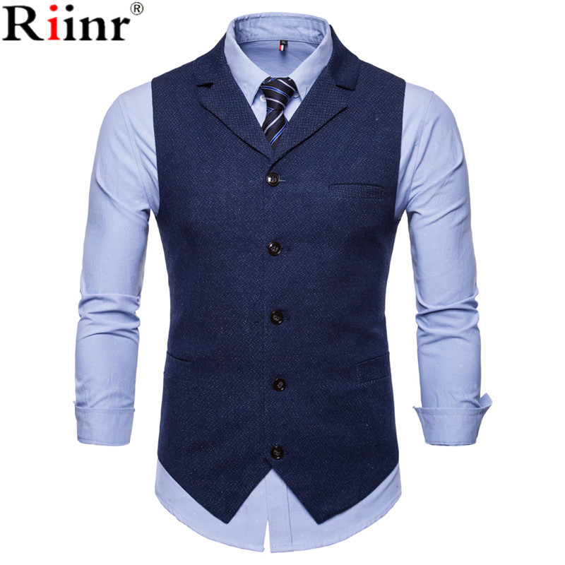 Riinr New Men's Business Casual Slim Fit Vests High Quality Spring Autumn Fashion Solid Color Single Buttons Men Vests Male Suit