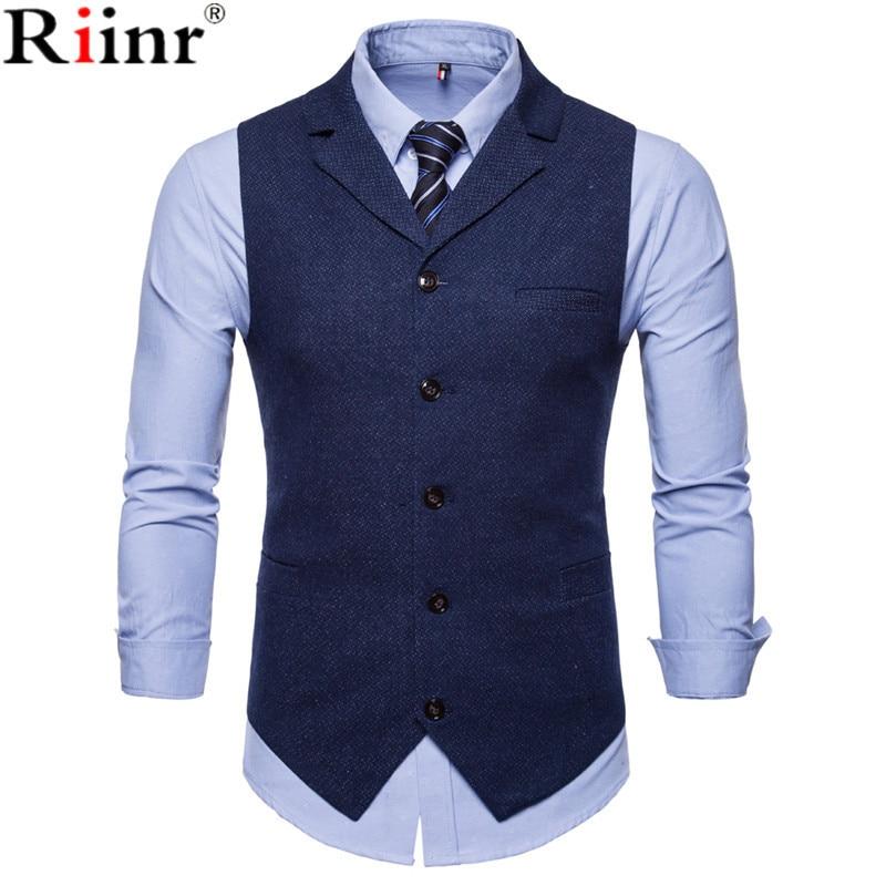 Riinr New Men's Business Casual Slim Fit Vests High Quality Spring Autumn Fashion Solid Color Single Buttons Men Vests Male Suit