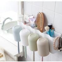Wheat Straw Porous Desktop Toothbrush Holder Wash Shelves Toothpaste Comb Storage Rack