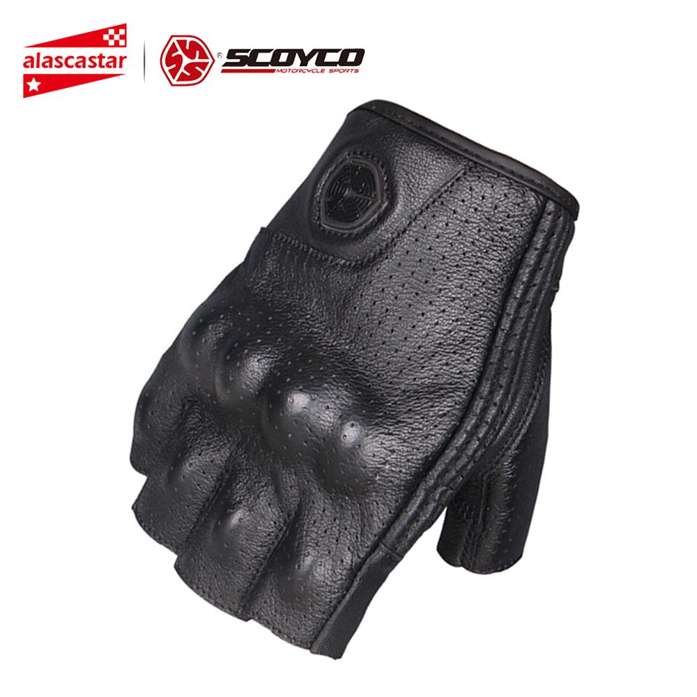 SCOYCO Motorcycle Gloves Moto Gloves Motocross Racing Gloves Leather Motorcycle Riding Half Finger Gloves Luva Couro