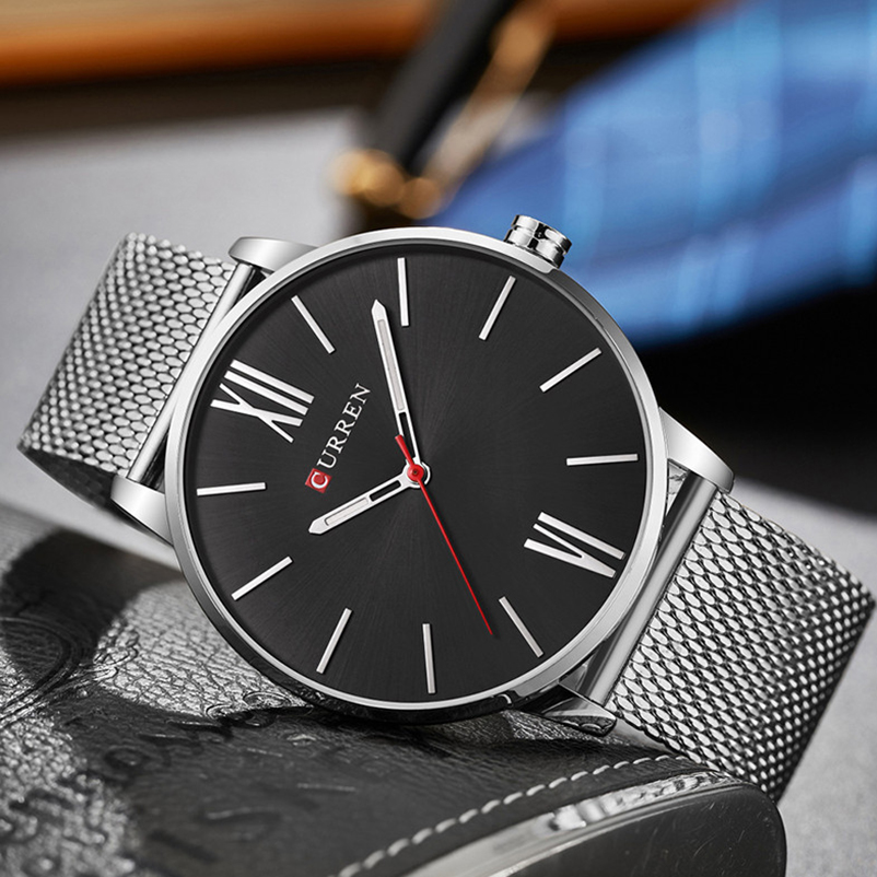 Image 5 - CURREN Top Brand Mens Watches Luxury Quartz Casual Watch Men Stainless Steel Mesh Clock relogio masculino 8238 Drop Shipping-in Quartz Watches from Watches