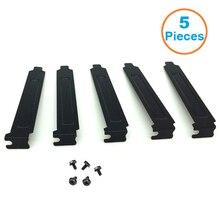 5 teile/los Schwarz Harten Stahl PCI Slot Abdeckungen Halterung w/Schrauben, volle Profil Expansion Staub Filter Stanzen Platte für PCI