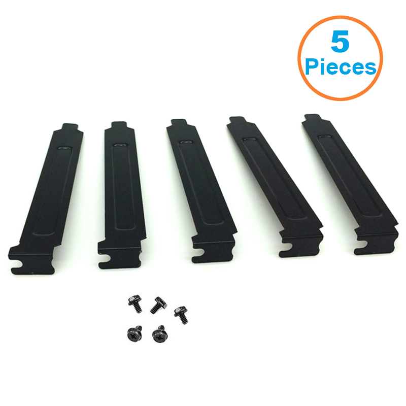 5pcs/lot Black Hard Steel PCI Slot Covers Bracket w/ Screws, Full Profile Expansion Dust Filter Blanking Plate for PCI