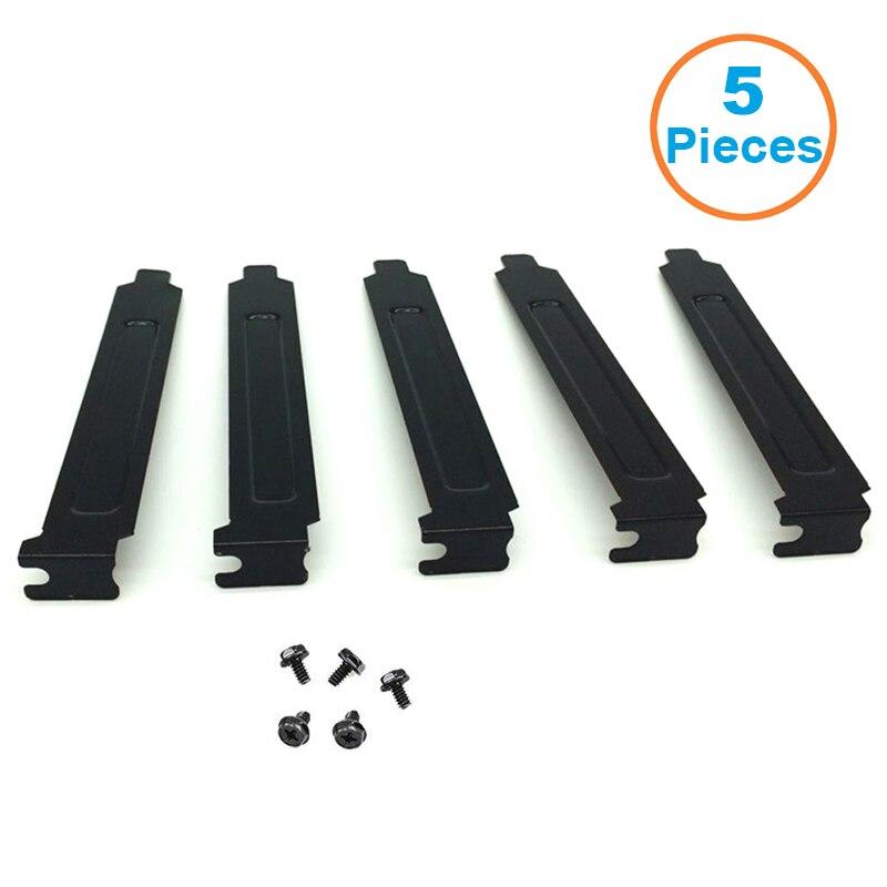 5PC PCI Bracket Slot Cover Dust Filter Black Steel Blank Blanking Plate+ScrewsIJ