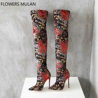 Женские сапоги чулки с разноцветным цветочным принтом, модные облегающие сапоги, пикантные женские сапоги с острым носком на очень высоком