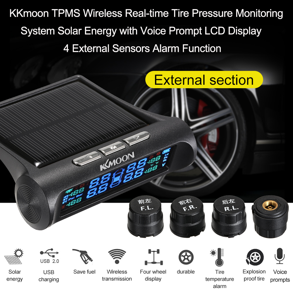 2018 Tpms Wireless Real Time Tire Pressure Monitoring System Solar Energy  With Voice Prompt Lcd Display 4 Internal Sensors Alarm From Chaodingluo,