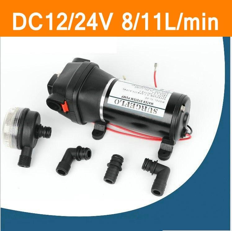 DC12V 24V 8-11L/min Plastic Water Pump Mini Diaphragm Pump Household Heavy Power For Marine RV Recreational Vehicle Boat Pump