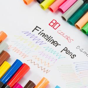 Image 4 - 80 colori 0.4 millimetri Punta Nera Fineliner Schizzo Penne