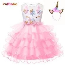 PaMaBa Cute Baby Girls Unicorn Ruffled Tutu Dresses Kids Summer Clothes Princess Birthday Party Frock with Horn Headband