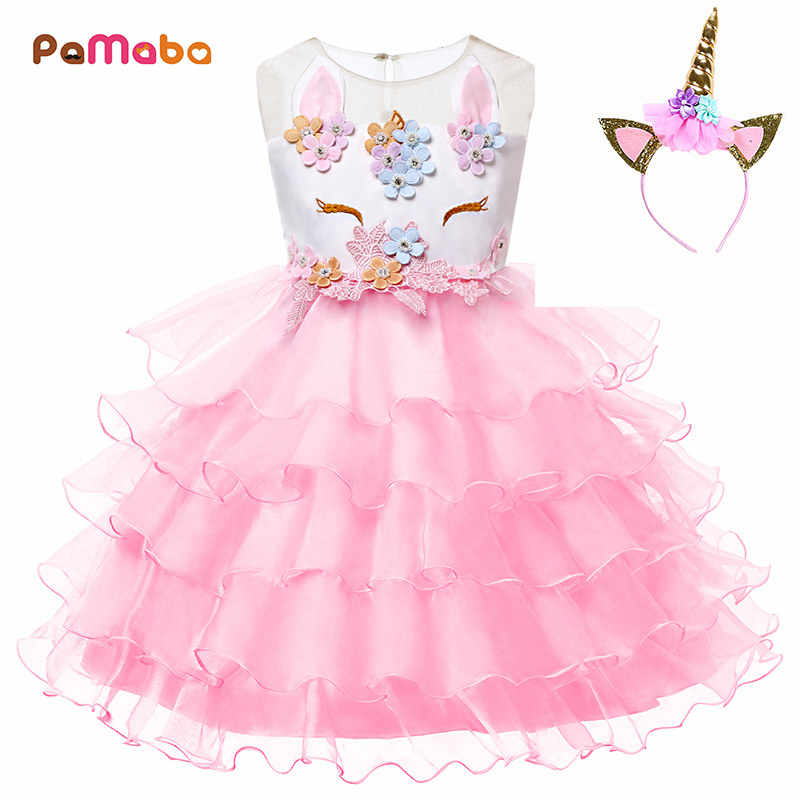 b6d4f0f7f88 PaMaBa Cute Baby Girls Unicorn Ruffled Tutu Dresses Kids Summer Clothes  Princess Birthday Party Frock with