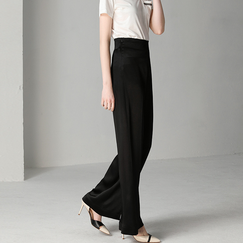 Women's Trousers 2019 New Women's Spring and Summer Loose Casual High Waist Wide Leg Pants Black Straight Wild Trousers 0897 Price $57.88