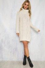 Осень 2017 г. теплый свитер Для женщин Джемперы Пуловеры для женщин трикотажные Разделение водолазка карманы Прямые Платья-свитеры Тянуть Роковой