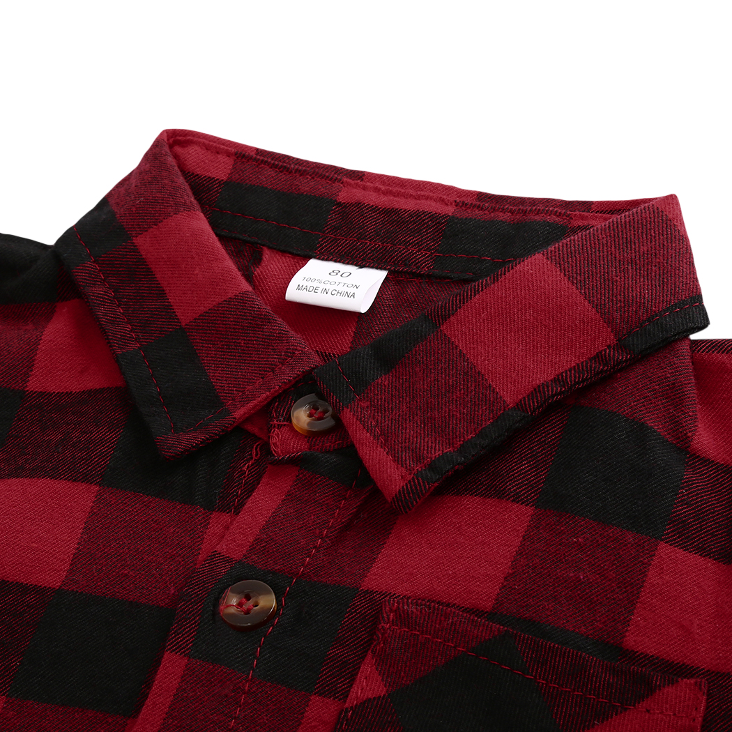 2018 Fashion Kids Baby Boys Girls Clothes Long Sleeve Shirt Red Plaids Checks Tops Blouse Outfits Clothing Spring Autumn Outwear