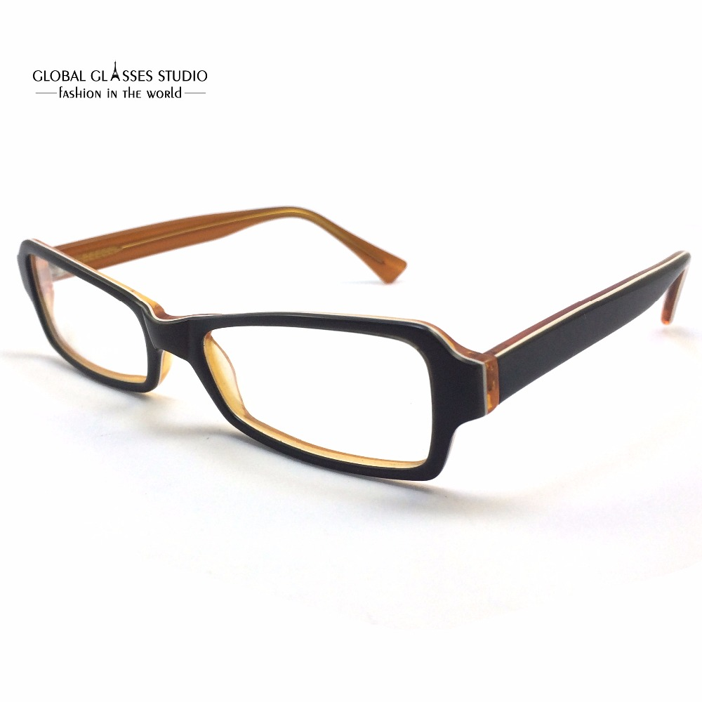 geometric lens acetate glasses frame women green on orange all face shape fit student spectacle eyeglass
