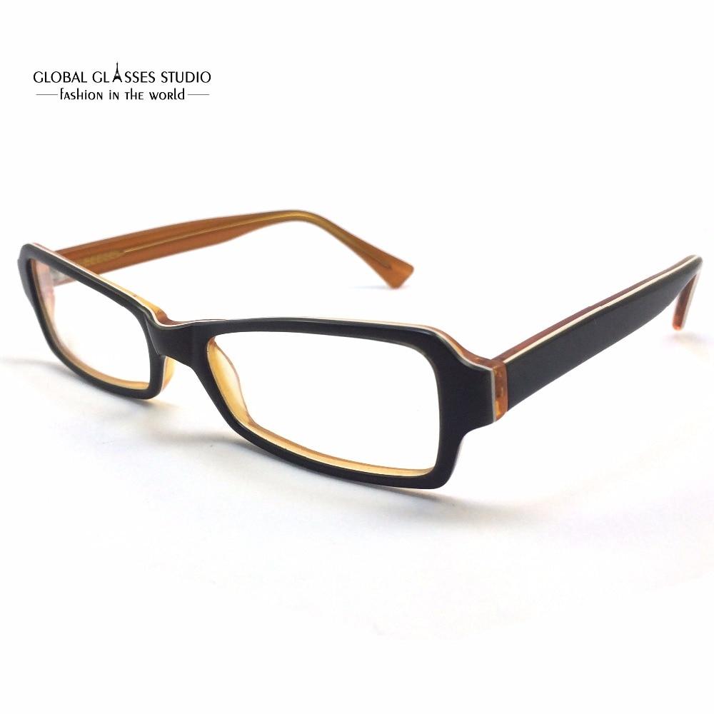 geometric lens acetate glasses frame women green on orange all face shape fit student spectacle eyeglass