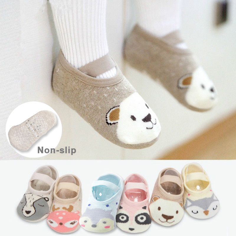 1 paire mode bébé filles garçons mignon dessin animé anti-dérapant coton bambin chaussettes de sol motif Animal premier marcheur chaussures pour nouveau-nés